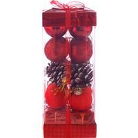 KullanAtMarket Kırmızı Yılbaşı Ağaç Süs Seti 20'Li 4Cm