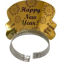 KullanAtMarket Altın Happy New Year Karton Taç
