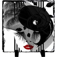 Fotografyabaski Siyah Şapkalı Kadın - Kare Taş 15X15Cm