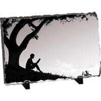 Fotografyabaski Kitap Okuyan Çocuk Dikdörtgen Taş Baskı 15X20 Cm