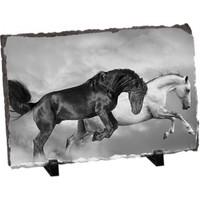 Fotografyabaski Siyah Ve Beyaz Atlar Dikdörtgen Taş Baskı 15X20 Cm