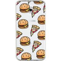 Remeto Hamburger Pizza Apple iPhone 7 Plus Transparan Silikon Resimli Kılıf