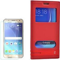 Gpack Samsung Galaxy C7 Kılıf Pencereli Gizli Mıknatıslı Kırmızı + Kırılmaz Cam