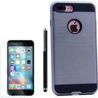 Gpack Apple iPhone 7 Plus Kılıf Sert Darbe Emici Çift Katman Arka Kapak Gri +Kalem +Cam