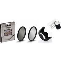 Canon 18-55mm Lens için Uv Filtre + Cpl Circular Polarize Filtre + Yaprak Parasoley + Rc-6 Kumanda -Tianya-
