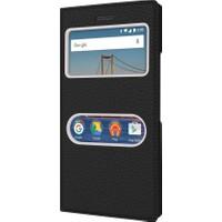 CaseUp General Mobile Gm5 Plus Kılıf CaseUp Kapaklı Çift Pencereli + Cam