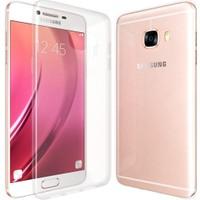 CaseUp Samsung Galaxy C7 Kılıf CaseUp İnce Şeffaf Silikon + Kırılmaz Cam