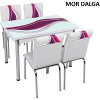Osmanlı Mobilya Osmanlı Mutfak Masa Takımı Mor Dalga Desen Masa + 4 Sandalye