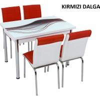 Osmanlı Mobilya Osmanlı Mutfak Masa Takımı Kırmızı Dalga Desen Masa + 4 Sandalye