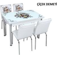 Osmanlı Mobilya Osmanlı Mutfak Masa Takımı Çiçek Demeti Desen Masa + 6 Sandalye