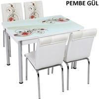 Osmanlı Mobilya Osmanlı Mutfak Masa Takımı Pembe Gül Desen Masa + 6 Sandalye