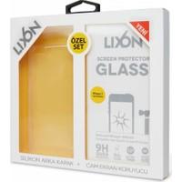 Lıxon Apple iPhone 7 Cam Ve Silikon Seffaf Kılıf + Korucu Cam