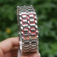 Nomnom Iron Samurai Bileklik Tasarımlı Led Saat - Gümüş Gövde Kırmızı Led
