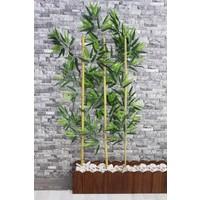 Yapay Çiçek Deposu Gerçek Bambu Yapay Yeşil Yapraklı 115 cm