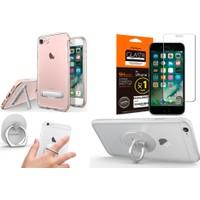 Spigen iPhone 7 için All in 1 Paket - 3 (Spigen iPhone 7 Kılıf - Spigen Apple iPhone 7 Cam Ekran Koruyucu - Spigen Telefon Halkası Style Ring )