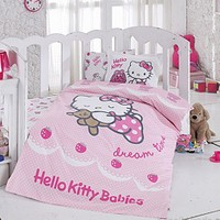 Hello Kitty Bebek Nevresim Takımı Ribbon