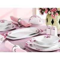 Noble Life Pink Garden 28 Parça Porselen Yemek Takımı - 14666