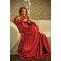 Sweat Giyilebilir Kollu Battaniye -Kırmızı