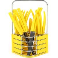 Evoks New Trend 24 Parça Stantlı Sarı Çatal Kaşık Bıçak Takımı