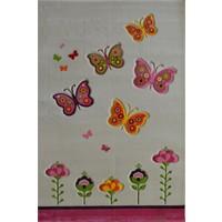 Poypoy Kelebek Bahar Anti Alerjik Çocuk Halısı 120X180cm