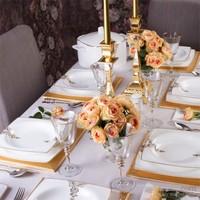 Taç Elegance Lace Gold 85 Parça Bone Yemek Takımı