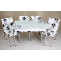 Evinizin Mobilyası Açılır Cam Mutfak Masası Masa Sandalye Elips Desenli(6 Sandalyeli)