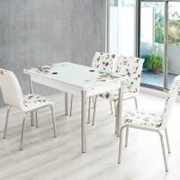 Evinizin Mobilyası Açılır Cam Mutfak Masası Masa Sandalye Kahve Çiçek Desenli(6 Sandalyeli)