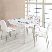 Evinizin Mobilyası Açılır Cam Mutfak Masası Masa Sandalye Lila Çiçek Desenli(6 Sandalyeli)