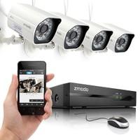 Zmodo Zm-Ss714 4 Kamera + Nvr Kayıt Cihazı 2.8Mm 20-25 Metre 100 M Kablo Hediye Poe Ip Kamera Seti