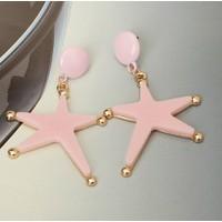 Myfavori Yeni Moda Büyük Küpe Pembe Denizyıldızı Yıldızı Küpeler