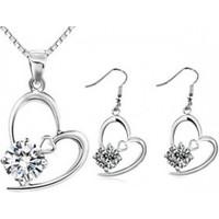 Myfavori Seti Yeni Beyaz Taşlı Kolye Ve Küpe Romantik Gümüş Kaplama Takı Seti