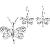Myfavori Seti Gümüş Kaplama Set Kolye Küpe Takı Setleri Nişan Gelin Düğün Aksesuarları