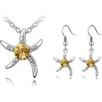 Myfavori Seti Sarı Taşlı Deniz Yıldızı Gümüş Kaplama Moda Hediyelik Takı Seti