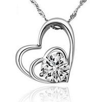 Myfavori Kolye Gümüş Kaplama Kalp Beyaz Zirkon Taşlı Zincir Gerdanlık Aşk Kolye Hediye Takılar