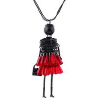 Myfavori Kolye Yeni Tasarım Şirin Kız Çanta Kırmızı Elbise Kolye Moda Kazak Üstü Uzun Zincir Kolye