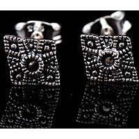 Sümer Telkari Markazit Taşlı Kare Tasarım Gümüş Küpe 392