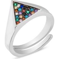 Sitille Renkli Taşlı Üçgen Eklem Yüzüğü R0107G21