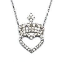 A'favor Gümüş Bayan Kolyesi Kalpli Prenses Tacı