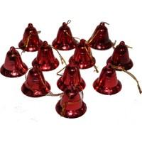 Kırmızı Çam Ağacı Çan Süsü 3,5 cm 6 Adet