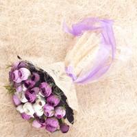 Benim Kınam Gelin Buketi Mor Krem Eren Güller'Den Hasır Tül Gelin Eli Çiçeği