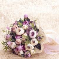 Benim Kınam Gelin Buketi Lila Pudra Eren Güllerden Hasır Tüllü Gelin Çiçeği