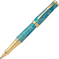 Cross Sauvage Monkey Brushed Cyan Blue Gold Roller At0315-22