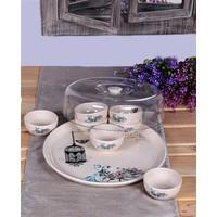 Keramika 9 Parça Kapaklı Kahvaltılık Retro