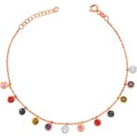 Bella Gloria Renkli Taşlı Tifani Rose Gümüş Bileklik (Gb00507)