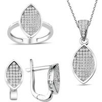 Bella Gloria Gümüş Mikro Taşlı Markiz Takım (Gt00194) 20