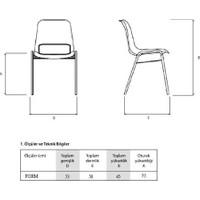 Türksit Form Sandalye 2'li Bordo - Kumaş