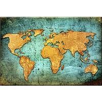 Decobritish Dünya Haritası Kanvas Tablo