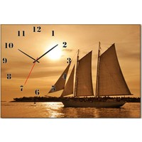 Tabloshop - Deniz Gemi Canvas Tablo Saat - 45X30cm