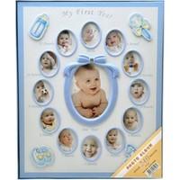 240'Lık Bebek Fotoğraf Albümü 12 Ay Fotoğraf Çerçevesi-Mavi