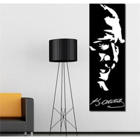 Tabloshop - Atatürk Silüet Ve İmza Canvas Tablo - 90X30cm